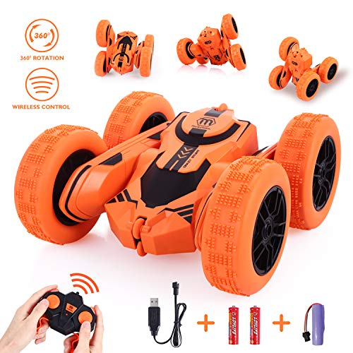 Peradix Remote Control Car, RC Stunt Car 2.4GHZ- 4WD- 360 Degrees Flip Car Toys Games For Boys Girls Kids Children-Orange