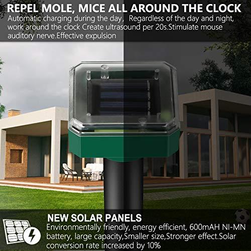 2 Piezas Ahuyentador de Topos Solar, Repelente para Gatos, IP65 Impermeable Ahuyentador Solar de Animales, Repelente de Topos, Anti Topos, Ratones, Ratas, Serpientes, Insectos al Aire Libre