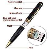 4GB Stylo caméra espion / Caméscope haute résolution et batterie integré Noir/Or