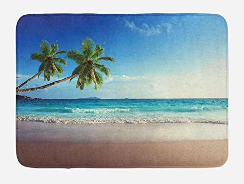 Ambesonne Seashore Bath Mat, Splashing Waves on Sandy Beach Coconut Palm Trees Scenic Island View, Plush Bathroom Decor Mat with Non Slip Backing, 29.5 W X 17.5 W Inches, Blue (Mat Green Island Decor)