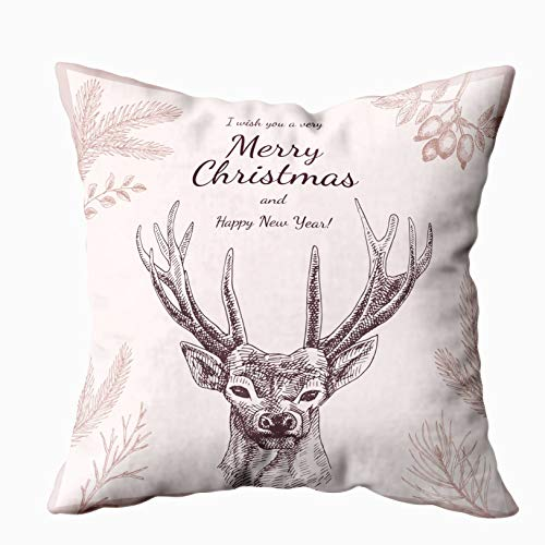 Douecish Palm Tree Outdoor Covers,Vintage Christmas Greeting Card Invitation Drawn Illustrations Deer Pine,Throw Pillow Covers,Cushion Soft Home Sofa Decorative Throw Pillow Cases