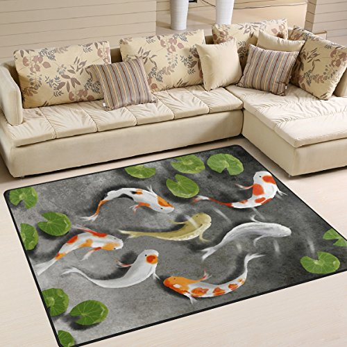 Naanle Traditional Area Rug 5'x7', Japanese Koi Fish Polyester Area Rug Mat for Living Dining Dorm Room Bedroom Home Decorative ()