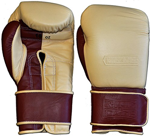 Japanese-Style Training Boxing Gloves 2.0 - Hook&Loop or Lace Up - 12oz, 14oz, 16oz, 18oz - 9 Colors to Choose (Drum Dyed Cream/Brown Palm, 16oz Hook&Loop)