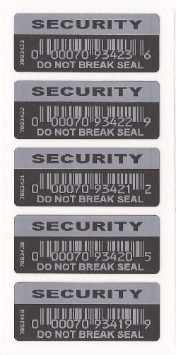 1000 X Security Labels Do Not Break Seal Black With White Printing Tamper Evident Each With Unique Serial Number