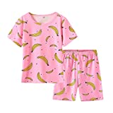 MyFav Girls Cute Banana Summer Pajama 2 Pieces Casual Sleepwear 6-14 Years Child