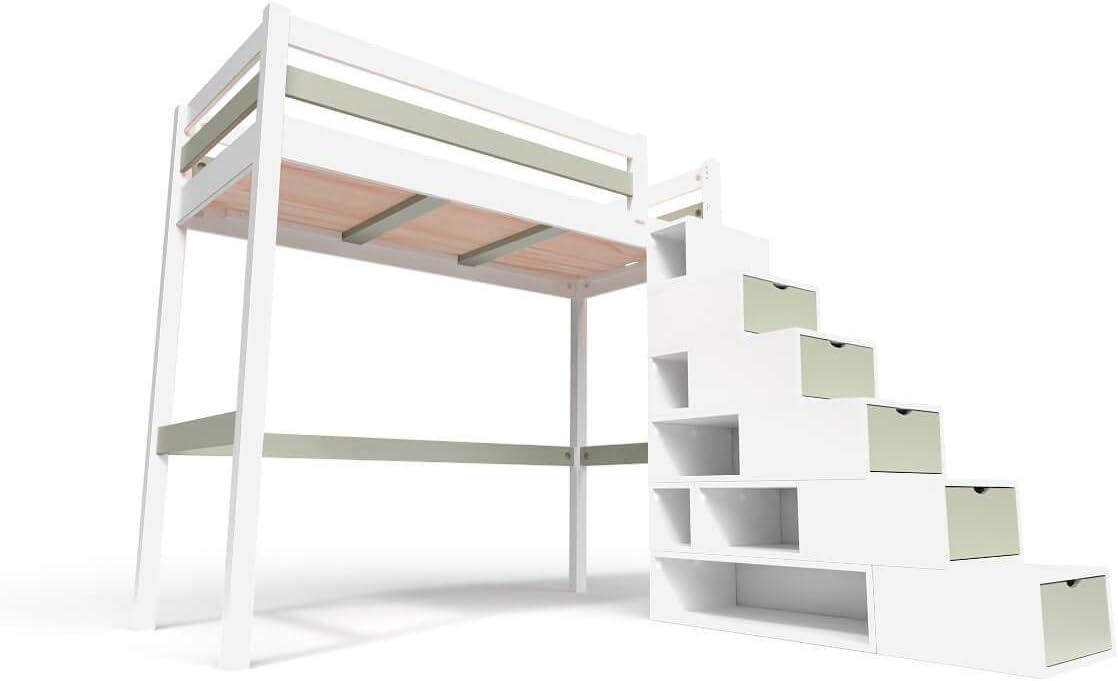 ABC MEUBLES - Cama Alta Sylvia con Escalera Cubo - Cube - Blanco/Moka, 90x200: Amazon.es: Hogar