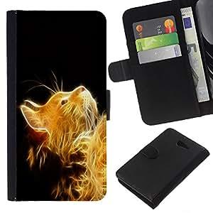KLONGSHOP // Tirón de la caja Cartera de cuero con ranuras para tarjetas - Sol de oro del gato - Sony Xperia M2 //
