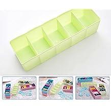 Multi-function Desktop Drawer Storage Box Clothing Organizer Five Grid Storage Box Underwear Socks Bra Ties Organizer Green color
