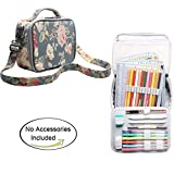 Teamoy Colored Pencils Case for 84 pencils, Travel Gadget Bag with Handle and Shoulder Strap, Stylish and Multi-purpose, Perfect Size for Travel or Daily Use, Peony(NO Pencil included)