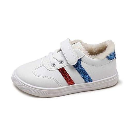 98e13b583b8 Unisex Zapatos para niños Moda Cálido Forro de Felpa Niños Zapatillas de  Deporte Ocasionales PU Zapatos de Cuero Planos Poco Profundos  Amazon.es  Zapatos  y ...