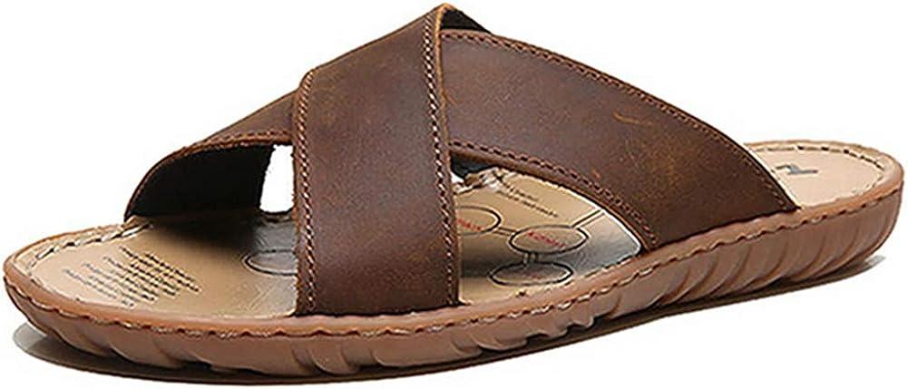 Urlatest men's flip flop, stylish, easy to walk sandals, lightweight, leather sandals, non-slip, genuine leather slippers