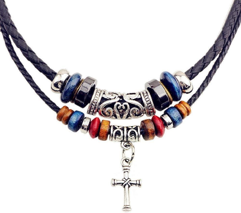 MKeDa Collar religioso Collar de Cruz con Cuentas de Doble cordón Collar de Cuero de Punto para Hombres Joyería