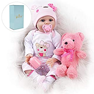 Yesteria Reborn Baby Doll, 22 Inch Realistic Silicone Baby Doll, Weighed Reborn Girl Doll in Pink Outfit, with Accessories and Certificate of Adoption