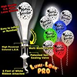 Birthday Lumi - Loons White Balloons Assorted Colored Lights - 10 Pack