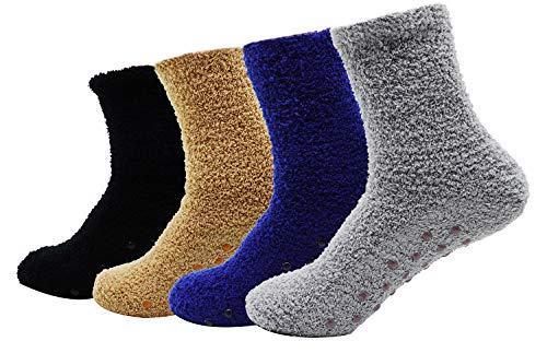 Men's 4 Pack Winter Thick Socks Warm Comfort Soft Fuzzy Floor Socks Multi Color One Size
