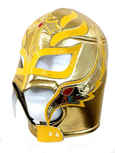 Rey Mysterio Costume Mens (Rey Mysterio Lucha Libre Wrestling Mask (pro-fit) Costume Wear- Gold Yellow)