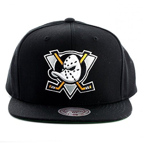 Mitchell & Ness Men's Mighty Ducks Basic Team Color Black Snapback Hat