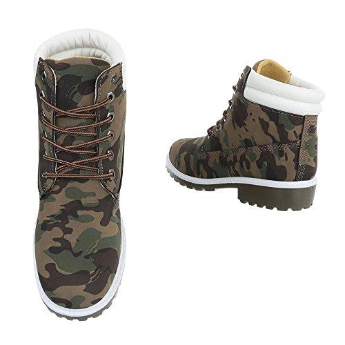 Ital-Design - Botas Militar Mujer caqui