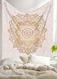 Madhu International New Launched White Gold Passion Ombre Mandala Tapestry, Bohemian Wall Hanging, Wall Tapestries, Queen Mandala Tapestries
