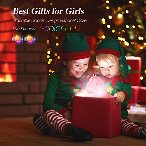 Unicorn Night Light ,GoLine Unicorn Gifts for Girls Age 1-12 ,Unicorn Lamps for Baby,Kids Night Lights for Bedroom,Cute Silicone Unicorn Toys for Children.