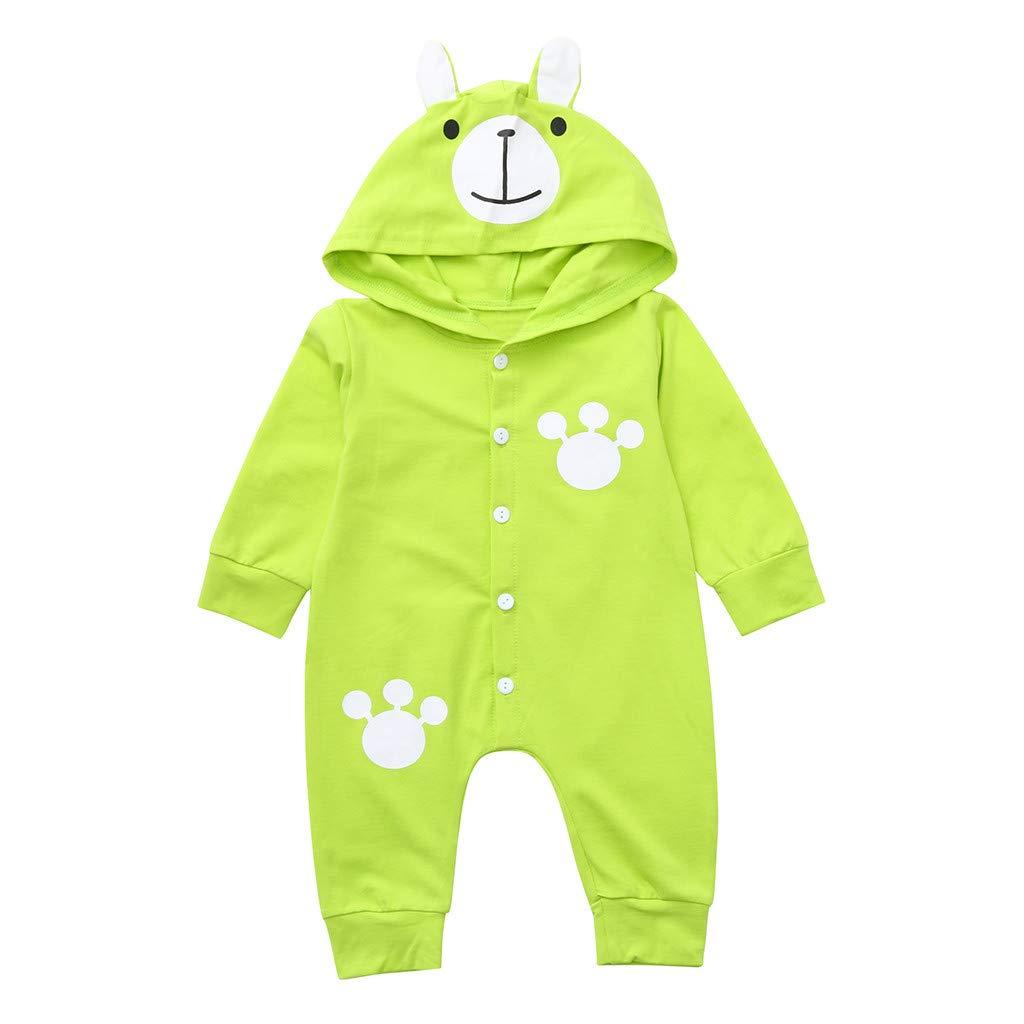 NUWFOR Infant Baby Long Sleeve Cartoon Bear Print Hoodie Romper Jumpsuit Clothes (Green,3-6 Months