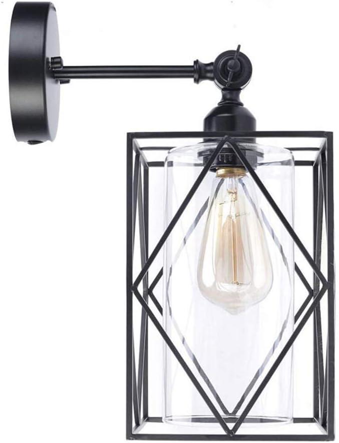AZUOYI Lámpara de Pared Ajustable Industrial Accesorios de Jaula de Alambre Antiguo Acabado Encendido Apagado Interruptor Giratorio en Enchufe para la Glorieta del Dormitorio (sin Bombilla)