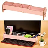 Aibecy Desktop Multifunctional Monitor Riser Stand with Storage Slolts for Stationeries Keyboard Office School Home Supplies
