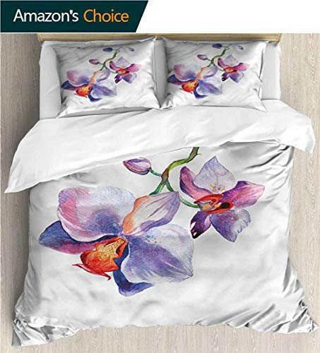 "VROSELV-HOME Bedspread Set Queen Size,Box Stitched,Soft,Breathable,Hypoallergenic,Fade Resistant Kids Bedding-Does Not Shrink Or Wrinkle-Floral Watercolor Orchid Petals (68"" W x 85"" L)"