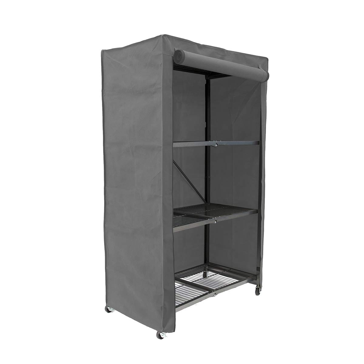 Gray Origami Fabric Protection Cover for 4-Shelf Large Storage Rack