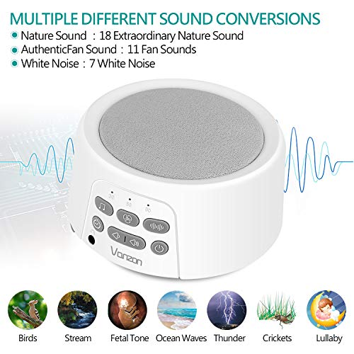 Vanzon White Noise Machine - Sound Machine with Baby For Sleeping & Relaxation, 36 Soothing High Fidelity Nature Sounds, Portable Sleep Sound Therapy for Home, Office or Travel - for Kids and Adults