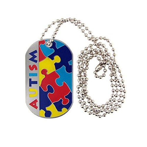 Huilin Jewelry Autism Awareness Identification military dog tag style Puzzle Piece pattern ID Necklace ()