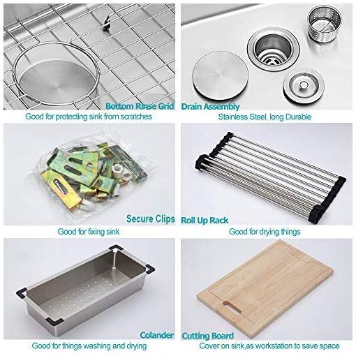 Farmhouse Kitchen 36 Farmhouse Sink – Kichae 36 Inch Farmhouse Kitchen Sink Undermount Ledge Workstation Apron Front Single Bowl 18 Gauge… farmhouse kitchen sinks