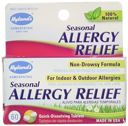 Hyland's Seasonal Allergy Relief Tablets, Natural Non-Drowsy Indoor & Outdoor Allergy Relief, 60 Count