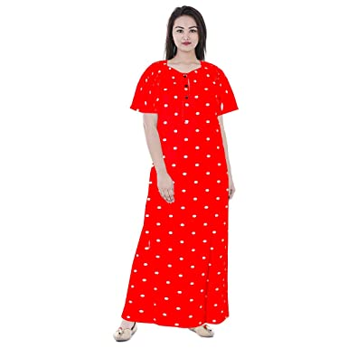 f2508a725d jwf Soft Cotton Nightwear Gown Nighties Sleepwear Maxi Dress  Amazon.in   Clothing   Accessories