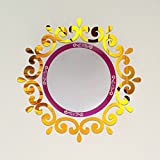 Top ceilling mirror wall sticker , top lighting the ceiling Chandelier around decorative mirror frame sticker ,70x70cm DIY mirror wall sticker (Gold)