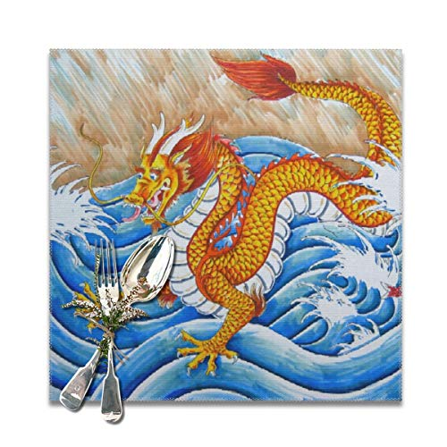 Scarlett Life Hall China Dragon Asia Parade SeaDecorative Polyester Placemats Set of 6 Printed Square Plate Cushion Kitchen Table Heat-Resistant Washable Dining Room Family Children