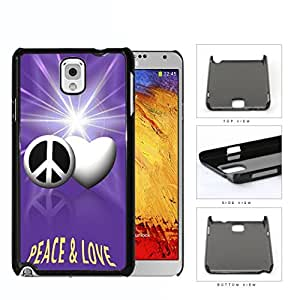 Peace And Love Symbols With Purple Glare Hard Plastic Snap On Cell Phone Case Samsung Galaxy Note 3 III N9000 N9002 N9005 by supermalls