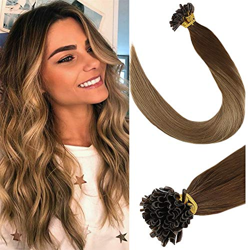 (LaaVoo 14 inch Straight Nail U Tip Pre-Bonded Real Human Hair Extensions Balayage Medium Brown to Light Brown and Golden Blonde Remy U Tips Fusion Hair Extensions 50g/50strands)