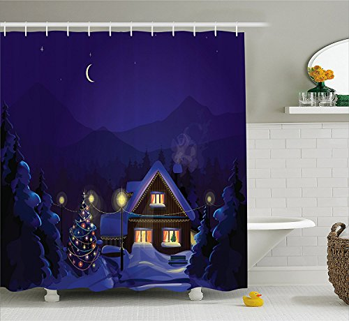 [Christmas Decorations Shower Curtain Set Winter Landscape with Decorated House and Christmas Tree at Night Family Themed Bathroom Accessories Blue] (The Pope Costume At The White House)