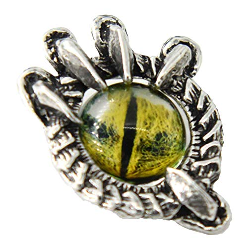 Pewter Womens Brooch - Dragon Claw with Green Eye Pewter Lapel Pin, Brooch, Jewelry, G019GRN