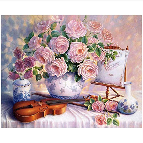jbekjg Diamond Painting Flowers DIY 3D Diamond Embroidery Violin Mosaic Drawings Rose Cups Embroidery Ribbons Sets Sale Needlework 30X40Cm