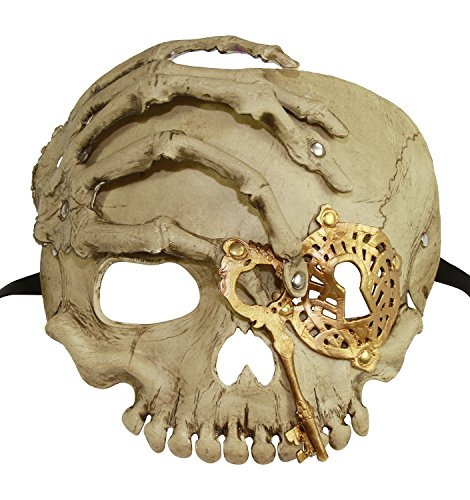 [KAYSO INC The Caribbean Pirate Full Face Skull Mask (Vintage Gold)] (Full Pirate Costumes)