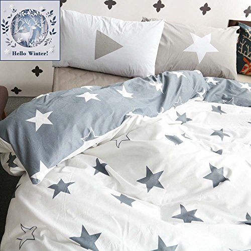 Five-pointed Stars Reversible Cotton Kids Duvet Cover Sets Twin Grey/White Bedding Cover With 2 Pillowcases ,Gifts for Men,Women,Children,Boys,Girls,Friend,Family,NO COMFORTER (Kids Comforter)
