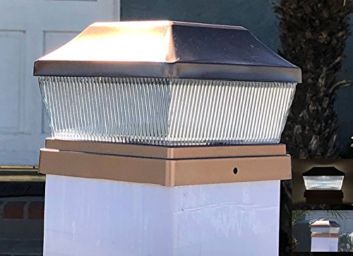 Set of 4 Stainless Metal Plated 2 SMD LED Deck Solar Post Cap 28 Lumens (Copper Set of 8)