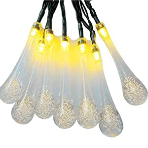 Ukitto Solar Outdoor String Lights, 20 ft 20 LED Water Drop Solar String Fairy Waterproof Lights Christmas Lights Solar Powered String lights for Garden Decoration, Patio, Yard, Home, Christmas Tree, Parties and Fence (Warm White)