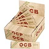 OCB ORGANIC HEMP UNBLEACHED PAPERS SLIM KING SIZE WITH TIPS UNFLAVORED FLAVOR PACK OF 24