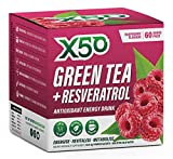 Green Tea X50 - Extract organic supplement powder for weight loss diet and bodybuilding - Decaffeinated fat burner liquid drink (EGCG) not vitamin pills or capsules - dietary supplement mixed with cold or hot water - 3 great variety of flavors - Raspberry Flavor