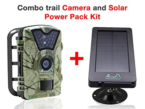 My Animal Command Outdoor Digital 12MP Trail Cameras with Night Vision Motion Activated Sensor and Solar Power Pack, IP66 Waterproof 1080p Game Surveillance System Camera, for Deer & Wildlife Hunting - Break Common Card