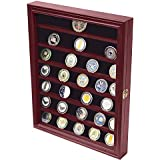 DECOMIL   Military Challenge Coin Display Case Cabinet Rack Holder With Door