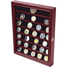 DECOMIL - Military Challenge Coin Display Case Cabinet Rack Holder With Door